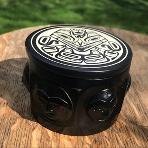 Vintage BOMA Haida art sculptured trinket box